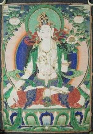 A large Tibetan thangka of Tara, late 19th/early 20th century, distemper on cloth, Tara seated in