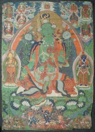 A large Tibetan thangka of Green Tara, 19th century, distemper on cloth, Tara seated in lalitasana