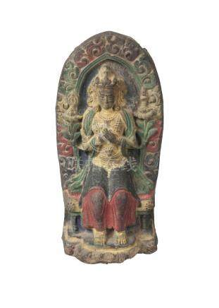 A Tibetan painted terracotta votive plaque, 17th/18th century, depicting Green Tara seated, 15cm