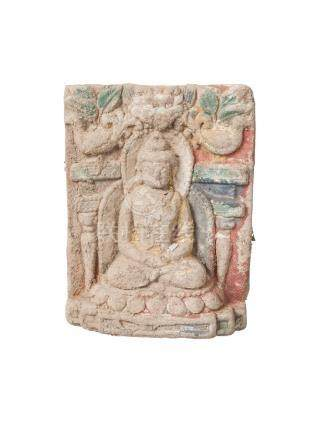 A Tibetan painted terracotta rectangular plaque, 18th century, depicting Buddha seated in