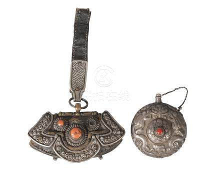 A Tibetan white metal and leather pouch and a white metal container, 19th century, the pouch set