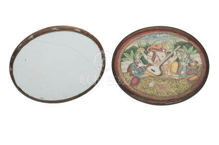 An Indian bronze circular travelling mirror box, early 20th century, the interior with painting of