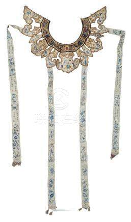 A Chinese silk embroidered collar, 19th century, with ruyi-shaped sections decorated with figures,