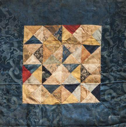 A Tibetan Buddhist ritual silk patchwork cloth, 19th century, made up of Chinese 17th-19th century