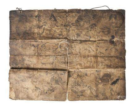 A Tibetan paper manuscript, late 19th century, decorated with figures, animals, and mythical