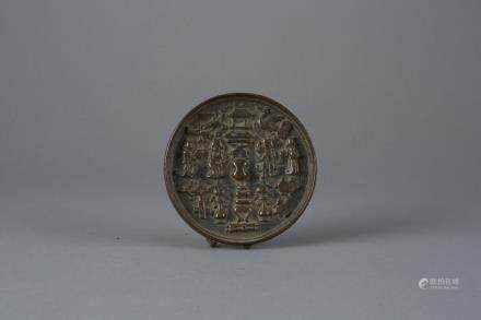 Chinese Ming Period Bronze Mirror with Buddhist symbols