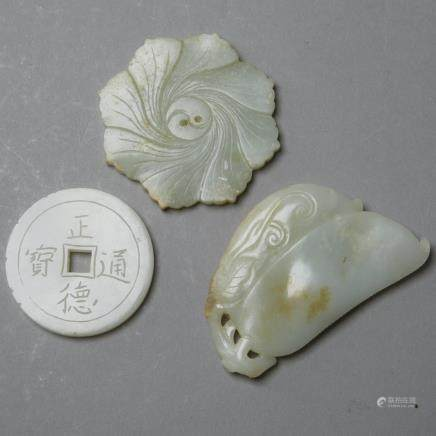 Group of 3: Chinese 19th century Celadon Jade Pendants with Carvings, Coin, Button, Bean Pod