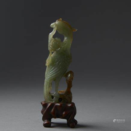 Chinese 19th century green Jade Carving of a Phoenix on Carved Wood Stand