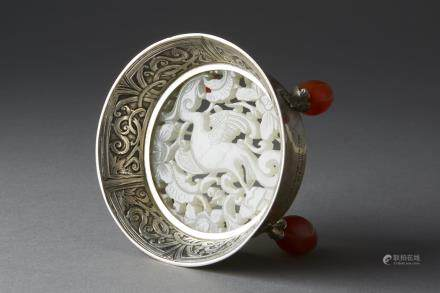 Chinese Qing Dynasty/ 18th century White Jade Pierced Plaque mounted in Silver by Edward Farmer with Carnelian Bead Feet (Bitcoin Accepted)
