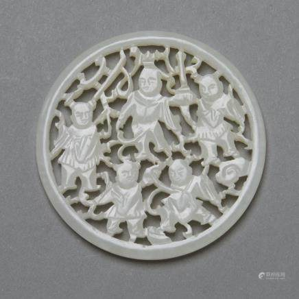 Chinese Guangxu/Republic Period White Pierced Jade Plaque or Medallion with Boys Playing (Bitcoin Accepted)