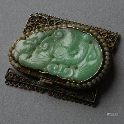 Very Fine Chinese bright green Jade Plaque Mounted in an export Silver Buckle (Bitcoin Accepted)