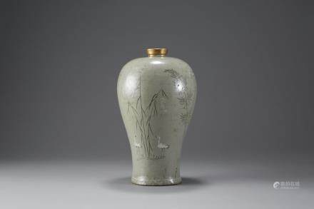 Korean Inlaid Celadon Maebyong Vase with early Japanese Repair - Goryeo dynasty (918-1392)