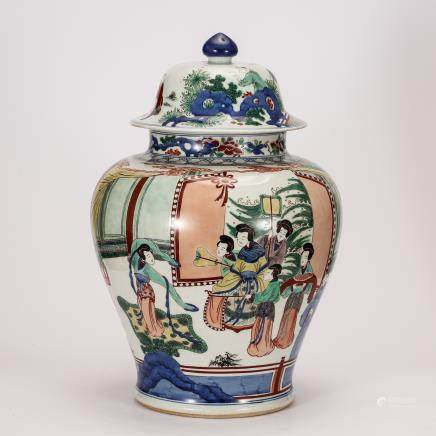 CHINESE QING DYNASTY WUCAI GINGER JAR