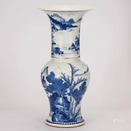 CHINESE BLUE AND WHITE YEN YEN VASE
