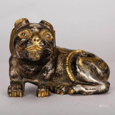 CHINESE BRONZE FOOLION WITH GILT AND SILVER