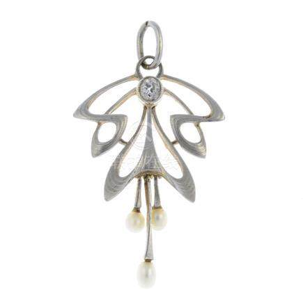 An Art Nouveau 15ct gold and platinum seed pearl and diamond pendant. Of openwork design, the seed