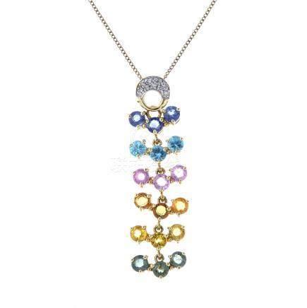 A 9ct gold sapphire, zircon and diamond pendant. Designed as a circular-shape vari-gem articulated
