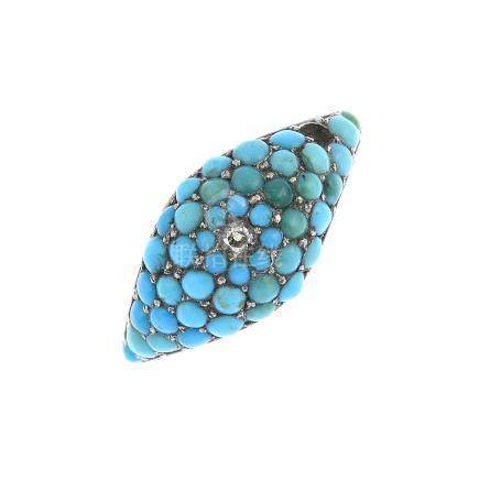 A late Victorian gold turquoise and diamond ring. Of bombe design, the pave-set circular turquoise