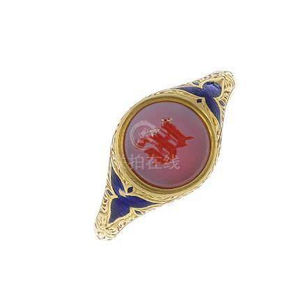 An early 20th century 18ct gold sardonyx and enamel signet ring. The circular-shape sardonyx