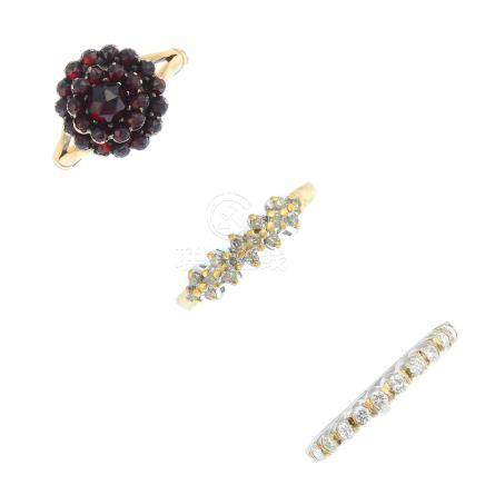 Five diamond and gem-set rings. To include a 9ct gold diamond single-stone ring, a diamond half