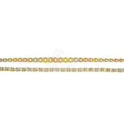 Two bracelets. The first, a 9ct gold graduated brick-link chain with textured tri-colour central