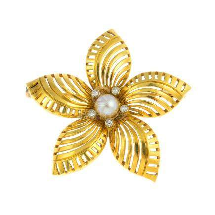 A cultured pearl and diamond brooch. Of openwork design, the cultured pearl and single-cut diamond