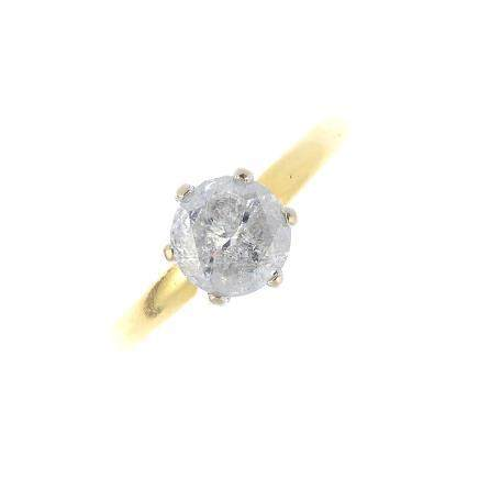 An 18ct gold diamond single-stone ring. The brilliant-cut diamond, with tapered band. Diamond weight