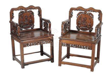 A pair of Chinese hardwood chairs, late Qing Dynasty
