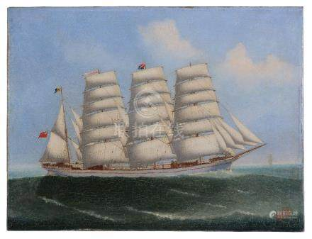 Lai Fong of Calcutta (fl.1890-1910) The four-mastered Barque Beechbank at sea signed