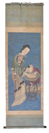 A large Chinese scroll painting of a Mother and Child