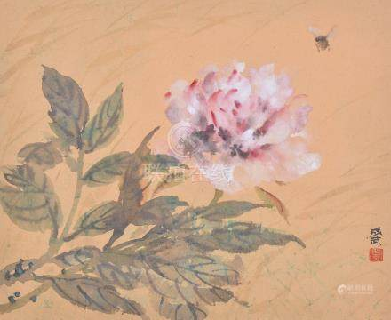 Fei Chengwu, 20th century, A wind blown Peony and a Bee, ink and colour on paper