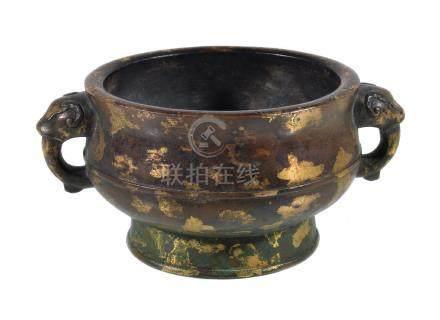 A Chinese gold-splashed bronze incense burner