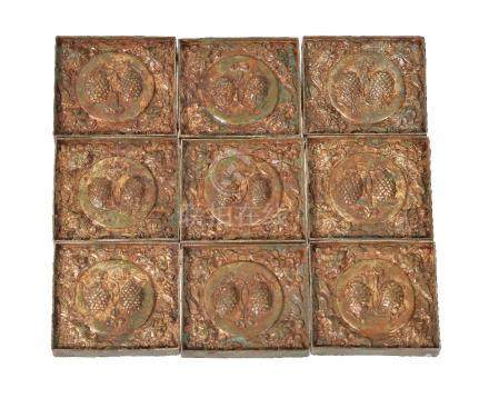 A set of Chinese gilt-copper belt plaques