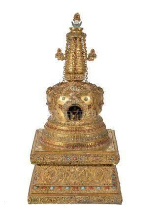 Y A Sino-Tibetan gilt-bronze Stupa