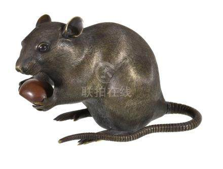 A large Chinese bronze rat
