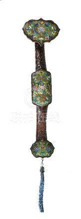 A large Chinese hardwood cloisonné inlaid ruyi sceptre