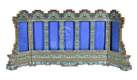 A large Chinese cloisonné table screen
