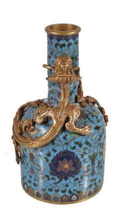A Chinese cloisonné 'dragon' mallet-shaped vase