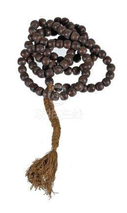 A Chinese wood bead necklace