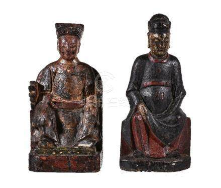Two Chinese lacquered wood figures of Court Officials