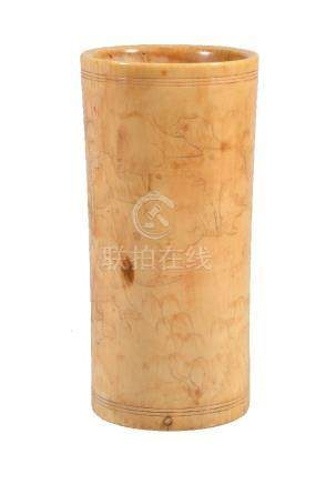 Y A Chinese ivory cylindrical brush pot or incense-tool holder