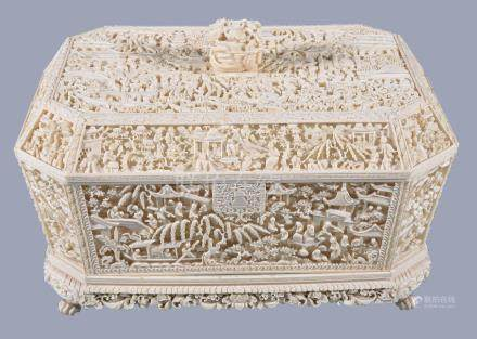 Y A Chinese export ivory work box and cover