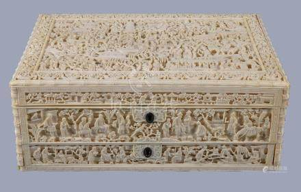 Y A Chinese ivory sewing box