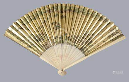 Y A Chinese painted gold-ground fan