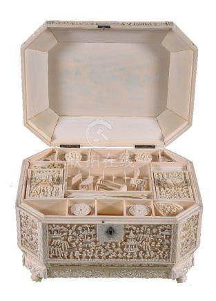Y Chinese export ivory work box and cover