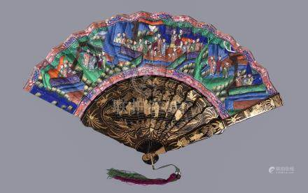 Y A Chinese lacquer and paper folding 'Mandarin' fan
