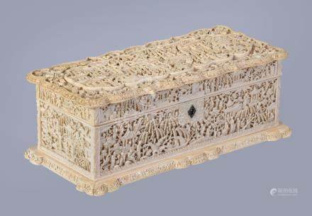 Y A Cantonese carved ivory rectangular box and cover