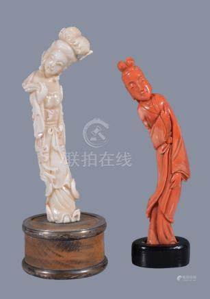 Y A red coral figure of a lady