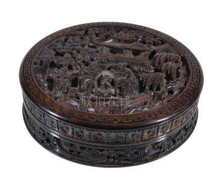 Y A Cantonese circular tortoise shell box and cover