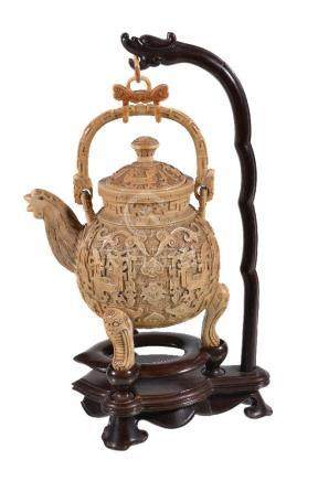 Y A Chinese ivory kettle and stand